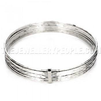 7 Piece Stacked Hammered Silver Bangle
