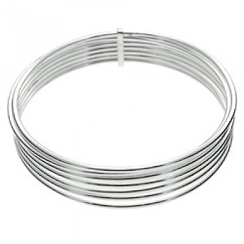 7 Piece Stacked Tubed Silver Bangle