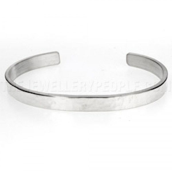 Hammered Solid Open Silver Bangle - 7mm Wide