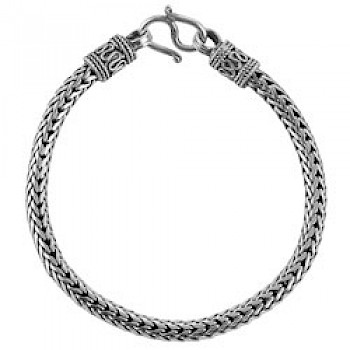 "8.5"" (21.5cms) Square Thai Chain Silver Bracelet - 3.5mm Wide"