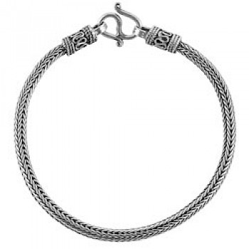 "8.5"" (21.5cms) Thai Chain Silver Bracelet - 4mm Wide"
