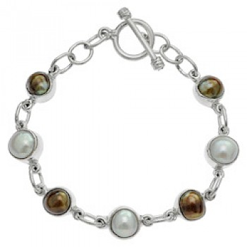 8 Piece Brown Pearl T-Bar Bracelet