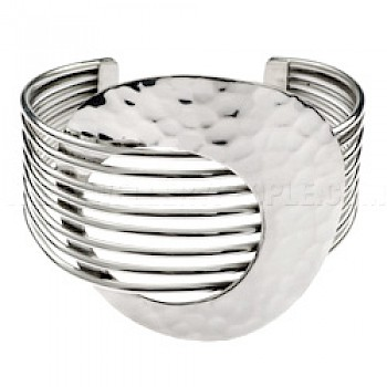 8-Wire Round Hammered Disc Bangle