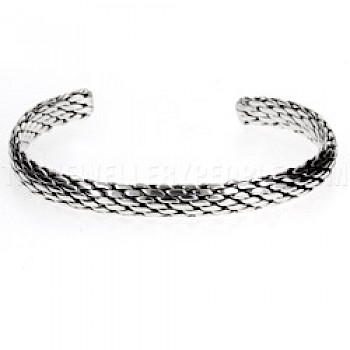 Rope Effect Flexible Silver Bangle - 8mm Wide