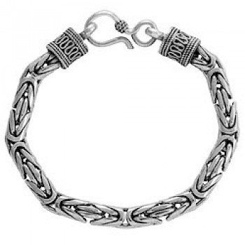 "9"" (23cms) Thai Silver Chain Bracelet - 7mm Wide"