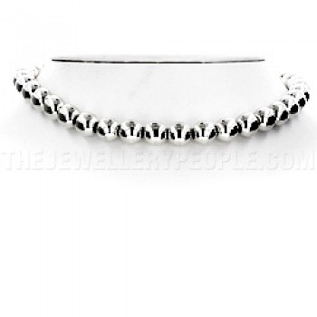 "Silver 10mm Bead Necklace 16.5"" long"