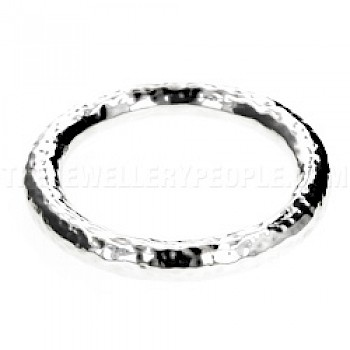 Hammered Round Silver Bangle - 9mm