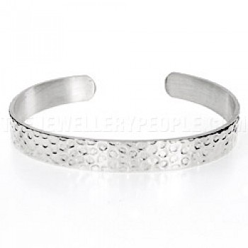 Heavy Dot Stamped Open Silver Bangle - 10mm Wide