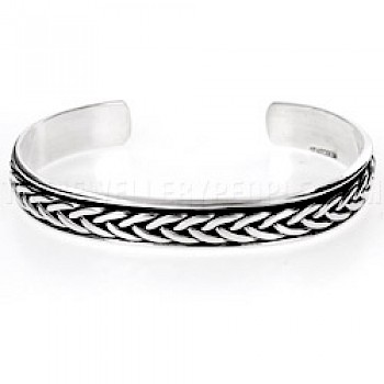 Plait Inset Oxidised Open Silver Bangle - 8mm Wide