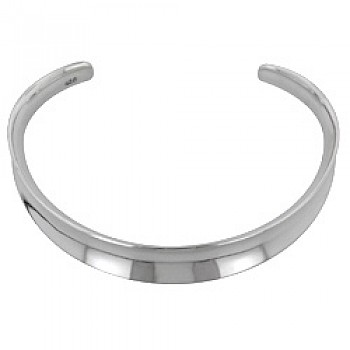 Curved Polished Silver Bangle - 11mm Wide