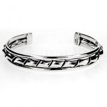 Twisted & Flattened Open Silver Bangle - 11mm Wide