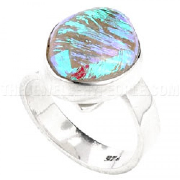 Green Sparkle Dichroic Glow-Glass & Silver Round Ring - 13mm
