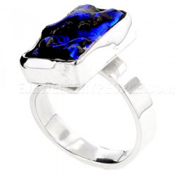 Blue Rippled Dichroic Glass & Silver Ring