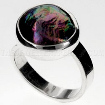 Dark Pearlised Shell & Silver Round Ring