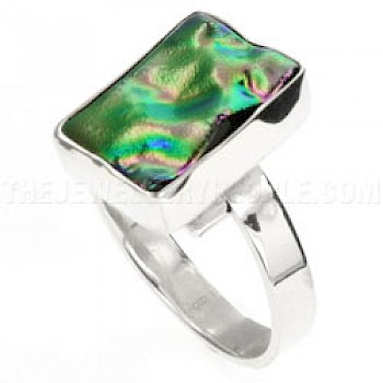 Lilac Rippled Dichroic Glass & Silver Ring