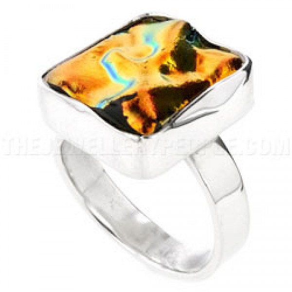 Orange Rippled Dichroic Glass & Silver Ring