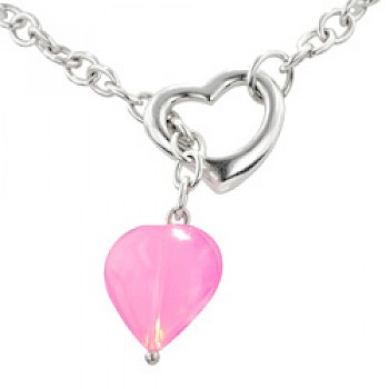 "Silver Heart Necklace with Acrylic Pink Heart - 16"" long"