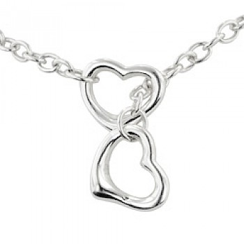 "Locked Hearts Silver Necklace - 16"" long"