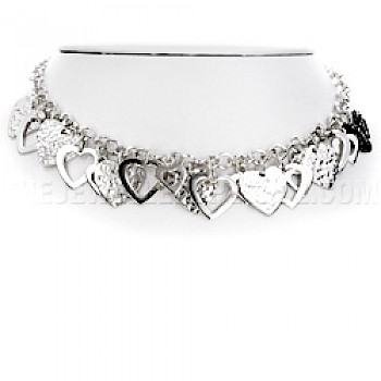 Multi-Hearts Silver Necklace - 41cm long