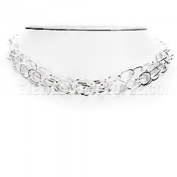 "3-Strand Ovals Silver Necklace - 18"" long"