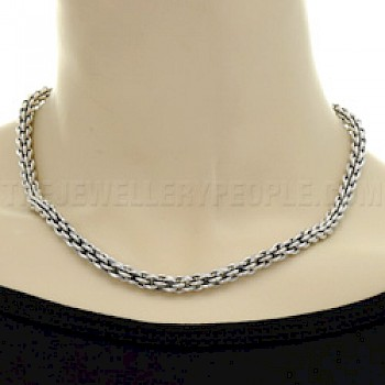 Oxidised Rope Silver Necklace - 5mm wide