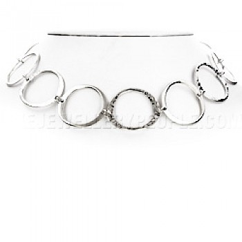 "Mixed Finishes Circles Silver Necklace - 18"" long"