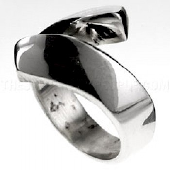 Squared Edged Silver Wrap Ring - 18mm