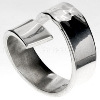 Half Hammered Silver Wrap Ring - 19mm