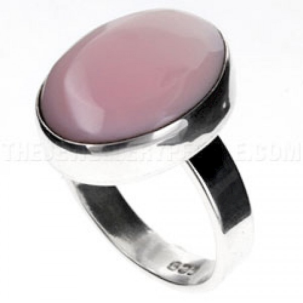 Pink Abalone Shell & Silver Oval Ring
