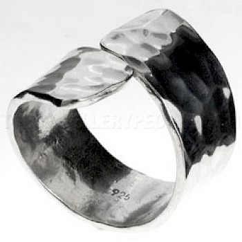 Hammered Silver Wrap Ring - 8mm Band