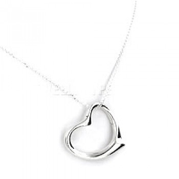 Smoothed Heart Silver Pendant - 30mm
