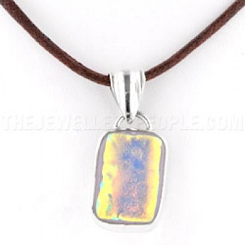 Gold Glow Dichroic Glass & Silver Rectangle Pendant - 34mm