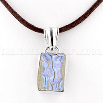Violet Glow Dichroic Glass & Silver Rectangle Pendant - 34mm