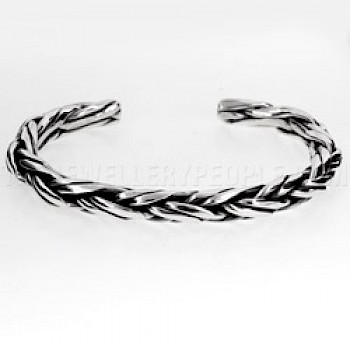 Twisted Multi Wire Open Silver Bangle - 6mm Wide