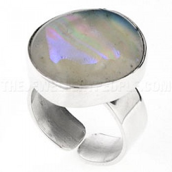 Purple Dichroic Glow-Glass & Silver Off-Shapes Ring - 20mm wide