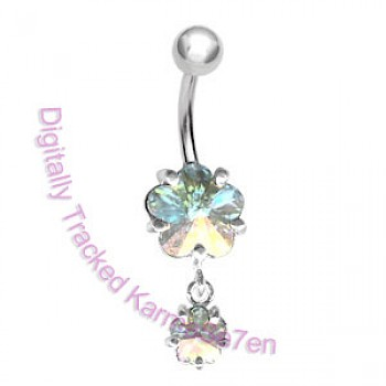 AB Flower Dangle Belly Bar
