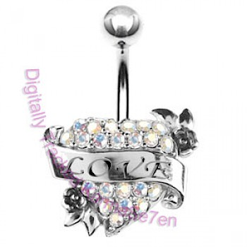 AB Love Heart Cluster Belly Bar