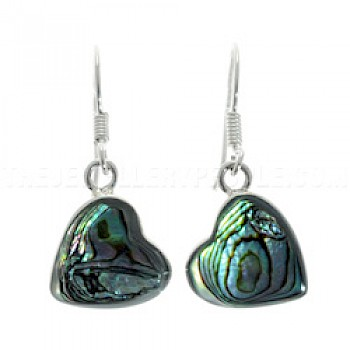 Abalone Heart & Silver Earrings