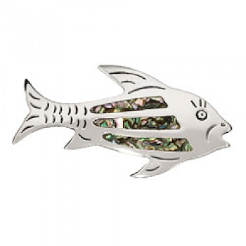 Abalone Shell Inlay Fish Brooch