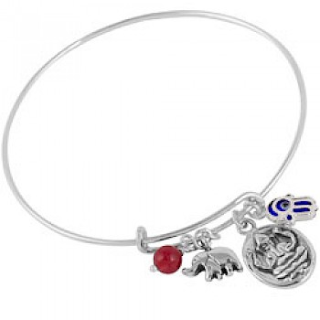Adjustable Silver Ganesh Charm Bangle