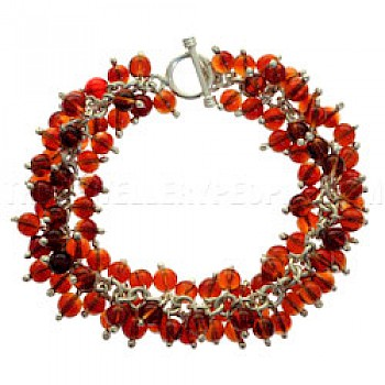 Red Glass Bead & Silver Bracelet