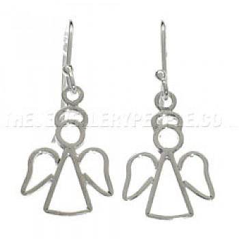 Angel Silver Earrings - 40mm Long