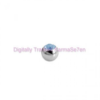 Aqua Jewelled Surgical Steel Threaded Micro Ball (1.2mm x 3mm)