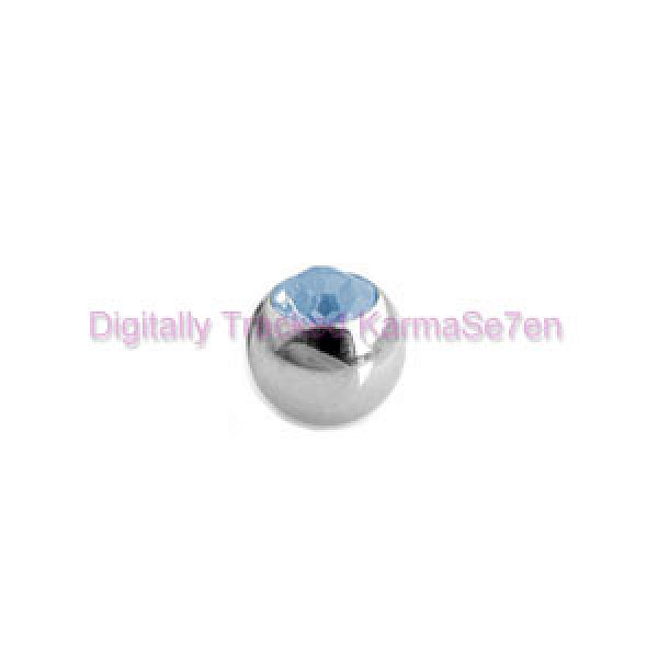 Aqua Jewelled Surgical Steel Threaded Micro Ball (1.6mm x 4mm)