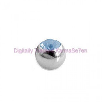 Aqua Jewelled Surgical Steel Threaded Micro Ball (1.6mm x 5mm)