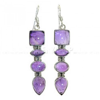 Arrow Amethyst & Silver Earrings