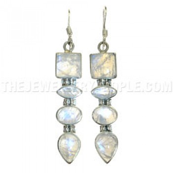 Arrow Rainbow Moonstone & Silver Earrings