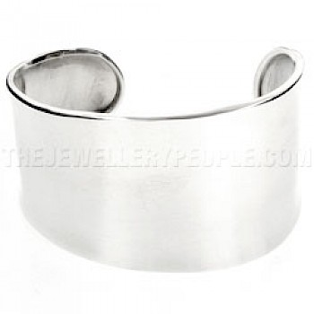Asymmetrical Silver Cuff - 40mm Wide
