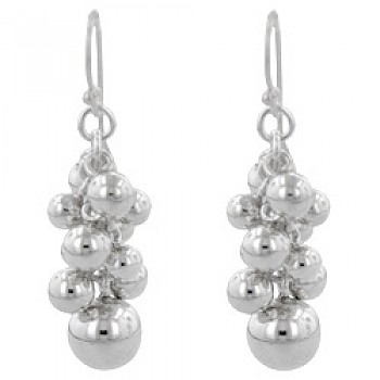 Ball Cluster Silver Drop Earrings - 40mm Long