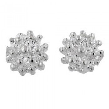 Ball Cluster Silver Stud Earrings - 9mm Wide